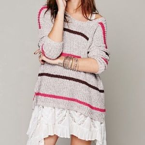 Free People oversized striped knit pocket sweater